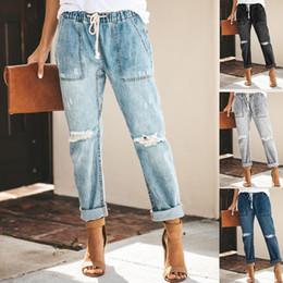 Sexy frauen harem hose online-Frauen Zerrissene Jeans mit hoher Taille Jeans Sexy Denim Haremshosen Frauen hohe Street lose Hosen Schwarze Frauen
