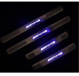 Mercedes AMG W210 W202 W219 W211 E Ve C sınıfı Paslanmaz Çelik Eşik LED 4 ADET / TAKıM DIY Blu-Ray Itişme Plaka Kapı Eşiği Kapakları supplier mercedes plates nereden mercedes plakaları tedarikçiler