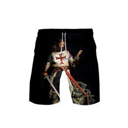 2019 nuevos hombres pantalones de hip hop Caballeros 3D templarios de los hombres Banco 3DBoard Pantalones cortos Troncos Verano Nuevo Niños rápidos Pantalones cortos de playa seca Hombres Hip Hop Pantalones cortos Ropa de playa nuevos hombres pantalones de hip hop baratos