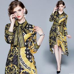 2019 chiffon hochzeitskleid tropfen ärmel 2019 Herbst Kleid Boutique gedruckt Womens Dress Fashion Shirt Kleid Langarm Kleider unregelmäßigen Trend Design