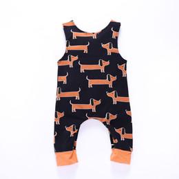 2019 cucciolo per le ragazze Pagliaccetto della tuta della neonata Neonato Toddler Bambini Abbigliamento firmato Ragazzi Ragazza Cucciolo lungo orecchio Stampa senza maniche 43 cucciolo per le ragazze economici
