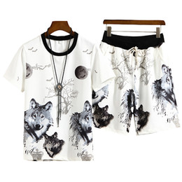 cool sportswear clothing Coupons - Summer 3d Printed Wolf Mens Sportswear Sets T-Shirt+Shorts Cool Tracksuit Men Suits Two Pieces Casual Man Clothing Size M-4XL