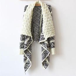 Ponchos vintage online-2019 Vintage largo suéter de las mujeres cardigan mujeres moda mujer de punto capa gancho irregular geométrica de punto jumper Shawl Poncho