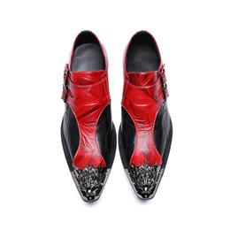 Argentina Zapatos de fiesta para hombre, de color rojo y con hebilla doble, con cordones, con cordones y con cordones de cuero genuino y con punta de dedo. supplier gold comfort Suministro