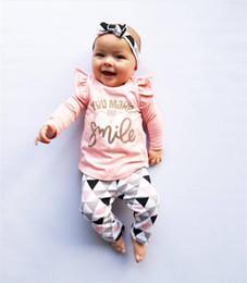 2020 головные уборы для девочек девочки вы заставляете меня улыбаться наряд Письмо печати с длинным рукавом рябить топы + треугольник брюки + оголовье 3 шт. Набор весна осень хлопок одежда набор дешево головные уборы для девочек