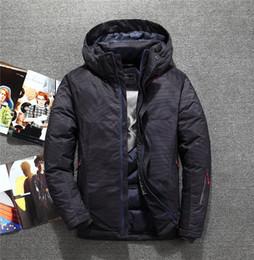Homem camuflagem azul inverno casaco on-line-Novos homens com capuz pato branco para baixo jaqueta preto azul camuflagem engrossar à prova d 'água à prova de vento quente inverno para baixo casaco masculino outerwear T190912