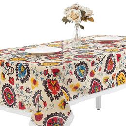 pezzi da tavola per matrimoni Sconti Tovaglia di fiori di sole Boemia Boho Tovaglia floreale Tovaglia di pizzo e copriletto di cotone e lino 9 Taglie Decorazioni da tavola di moda