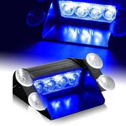 2019 advertencia de las luces del visor Azul 4 LED Coche Advertencia de emergencia Tablero de instrumentos Tablero de instrumentos Visera Estroboscópico de policía Luces 4LED lámpara rebajas advertencia de las luces del visor