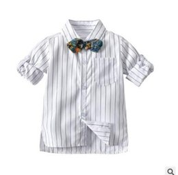 1dfa341f blouse baby collar 2019 - Boys Striped Shirts Floral Bowtie 2019 Spring  Long Sleeve Striped Tops