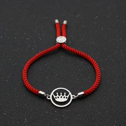 2020 braceleiras de ursinho de aço inoxidável Rodada bonito do urso de aço inoxidável Coroa Pulseiras Bangles para a corda Cadeia Mulheres Homens Sorte Red Amizade pulseira casais jóias desconto braceleiras de ursinho de aço inoxidável