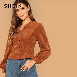 95332b8be2 SHEIN Casual Brown Lantern Sleeve Button Up Corduroy Single Breasted Collar  Jacket Autumn Modern Lady Women Coat Outerwear