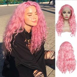 Bei capelli lunghi cosplay online-Bella rosa colore lungo capelli ricci ondulati 180% densità resistente al calore parrucca anteriore in pizzo sintetico parrucca per capelli parrucche sexy per le donne nere