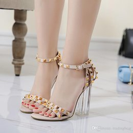 ed880c855e78 Sexy2019 Colorful Rivets PVC Transparent Crystal Thick Heel Shoes Sandals  Size To