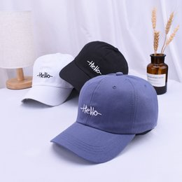 a3e02307a53 2019 Unisex New Style Korean-Style Baseball Cap Hello Letter Embroidered Couple s  Baseball Hat Summer Cool Outdoor