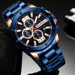 homens relógios aço inoxidável calendário curren Desconto Negócio dos homens Marca Curren Luxo Casual Calendário Assista Azul da cor do ouro impermeável de Men relógio de quartzo Stainless Steel Band T200112