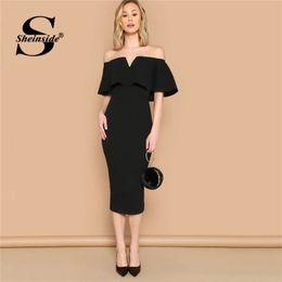 04f1862f9d53 2019 vestito lungo dal manicotto lungo del manicotto nero Sheinside Off  Shoulder Solid Bodycon Long Dress