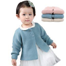 Chaquetas de seda ropa de abrigo online-Escudo bebés del suéter del resorte del otoño del bebé recién nacido rebecas de punto para niñas y bebés de la chaqueta de la capa de abrigo