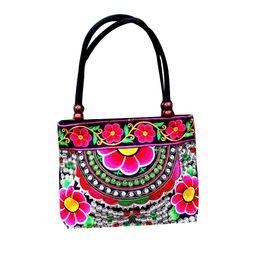 Chinesische ethnische handtaschen online-Blumen-Druck-Frauen-Weinlese Tasche Chinese Eigenschaften Stickerei Handtaschen-ethnische Canvas Holzperlen Umhängetasche