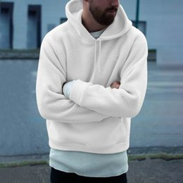8c04232f9d2f0 autumn winter fluffy plush hoodies men casual solid white warm fleece  hooded sweatshirts men 2018 new male coats pullovers discount plush man  hoodie