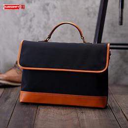 нейлоновая кожаный портфель Скидка Гандболу баллистический нейлон кожа Портативный мужские сумки диагональ коровьей 15-дюймовый ноутбук портфель мужские классические сумки посыльного