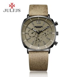 Мужские наручные часы с хронографом онлайн-JULIUS Real Chronograph Men's Business Watch 3 Dials Leather Band Square Face Quartz Wristwatch High Quality Watch Gift JAH-098