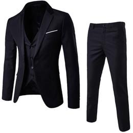 Männer Anzüge Für Hochzeit Dünne 3-teilige Anzug Blazer Business Party Jacke Weste Hosen Herren Anzüge Mit Hosen D90509 T190619 von Fabrikanten