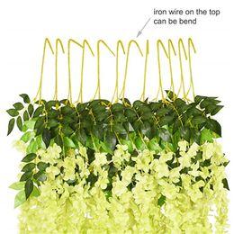подвесные цветы Скидка 12 PCS Искусственный Поддельный Глициния Vine висячие Garland Silk Flowers Струнный Главная партия Свадьба DecorDecorative Simulation Глициния