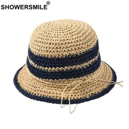 paglie di marina Sconti SHOWERSMILE Straw Bucket Hat Donne Kawaii Pesca Cap femminile giapponese navy a righe traspirante Carta signore Bucket Hat Estate