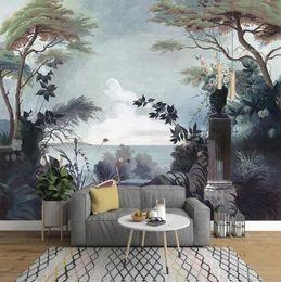 2019 fondo de pantalla de la casa blanca jardín pintado a mano retro retro Europea selva mural de televisión de fondo fondo de pantalla personalizado mural
