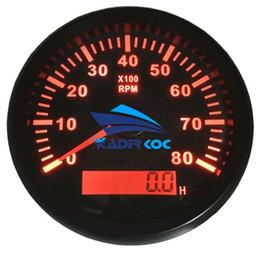 Confezione da 1 calibro tachimetro marino da 85 mm con contaore 0-8000 giri / min contamonete Contatore LCD retroilluminazione con retroilluminazione rossa per barca automatica da luci led per contatori fornitori