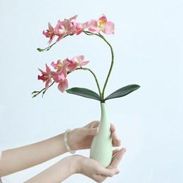 2019 lasciare l'orchidea artificiale Orchidea di fiori artificiali Real Touch Latex 2 Branch Orchid Flowers with Leaves Decorazione floreale impermeabile Flores lasciare l'orchidea artificiale economici
