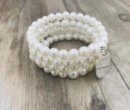 bracelet imitation cristal clair Promotion Bracelet perlé emballé monogramme empilée Set Crystal Clear Perles Monogramme Bracelet empilée enveloppé SetFree livraison à domicile