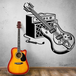 Decalques da guitarra elétrica on-line-Wall Sticker Electric Guitar Wall Decals Wall Art Mural Início Música Decor Home Decor Modern Design Kids Room Nursery