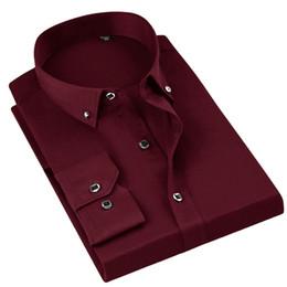 camisa formal colar desenhos Desconto Cor sólida Vinho Vermelho Diamante Button-down Collar Homens Camisas de Vestido de Manga Longa Novo Design 2019 Clássico Formal Camisas Dos Homens