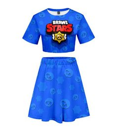 2019 jupe imprimée 2019 New BRAWL STARS 3D Imprimer jupe courte costume femmes Sexy été manches courtes Crop Top + jupe courte haute qualité Casual Ensembles promotion jupe imprimée
