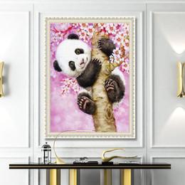 Pittura d'arte del gufo online-New Lovely Panda Immagini Incorniciate Pittura By Numbers Gufo DIY Digital Pittura A Olio Su Tela Decorazione Della Casa Wall Art