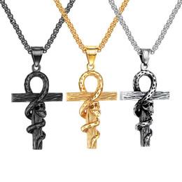 Colgante de fundición de acero online-Gothci para hombre serpiente sinuoso cruz colgantes collar joyería acero inoxidable chapado en oro diseñador diseñador collar joyería religiosa