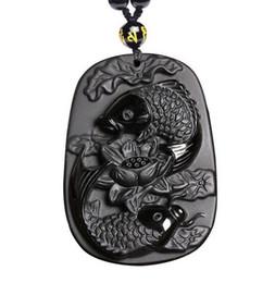 Colgante de loto tallado online-talla de obsidiana dos peces y loto colgante de obsidiana negro para hombres
