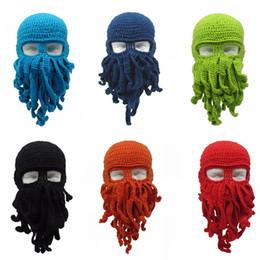 ec9210f1226 Novelty Tentacle Octopus Hat Unisex Winter Warm Knitted Woolen Yarn Face  Mask Cap Ski Funny Squid Tentacles Beanie Men Women Hat