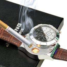 Isqueiros de relógio de pulso on-line-Moda Recarregável USB Mais Leve Relógios Eletrônicos dos homens Casuais Relógios De Pulso De Quartzo À Prova de Vento Sem Chama Isqueiro 4748