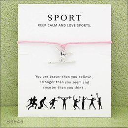 gift wrapping for christmas Coupons - New Gymnastics Wish bracelet with Card woman Sports posture charm Rope wrap Bangle For women Men Fashion Jewelry Gift