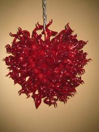 Boca de luz roja online-Elegante Inicio Rojo Led Colgante de Luz 100% Boca Soplado Dale Chihully Estilo Soplado A Mano Cristal de Lujo Araña de Iluminación