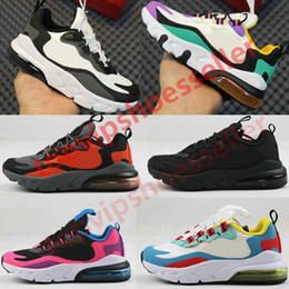 2021 kinder laufen schuhe mädchen New 270 React Bauhaus TD Kids Shoes Boy Girls Running Shoes Black White Hyper Bright Violet Toddler Children Sneakers 28-35