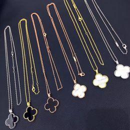 Europäische schicht halskette online-Europäischen und amerikanischen Schmuck Großhandel große vierblättrige Blume Doppelschicht Halskette