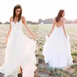 Vestidos de gasa de china online-Encantador 2019 gasa bohemio vestidos de novia Backless lado dividida vestidos de novia por encargo de China