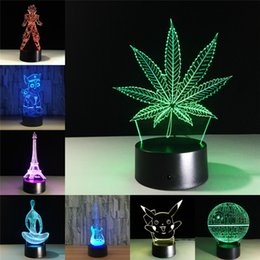 transparent table lamps Coupons - Maple Leaf 3D Visual Illusion Transparent Acrylic Night Light LED Lamp 7 Color Changing Touch Table Lamp Kids Lava Lamp