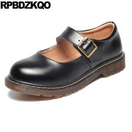 Zapato de mujer talla de china online-Pisos negro chino de las mujeres de encargo dedo del pie redondo japonés escuela de vino tinto de estilo británico ancho fit zapatos de las señoras retro de gran tamaño de china