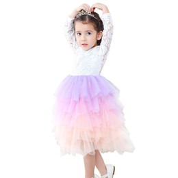 vestidos de cinta de arco iris Rebajas Moda Niños Niñas Lace Flying Ribbon Digital Manga larga Rainbow Dress Vestido de niña de las flores para Halloween Party Costume Dress