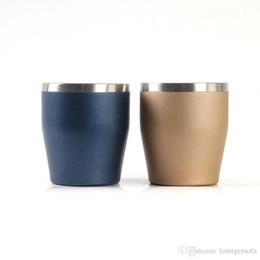 Vender taza online-Doble del acero inoxidable taza del vino en forma de U cáscara de huevo del vaso de cerveza taza de café portátil No manija caliente de la venta 12LX O1