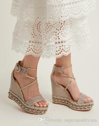 Золотые сандалии на каблуке онлайн-летние каникулы золотые кожаные женские сандалии для женщин мода красный низ chocazeppa клинья высокие каблуки ремешок на лодыжку сексуальные высокие каблуки ну вечеринку платье